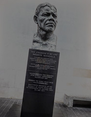 Nelson Mandela (Steve Taylor (Photography)) Tags: nelsonmandela thestruggleismylife ianwalters bronze granite plinth sculpture art bust black contrast metal man uk gb england greatbritain unitedkingdom london memorial tribute muted texture dutchangle dutchtilt