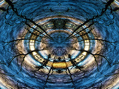 Centre (Tobymeg) Tags: cyclone trees sky light mirrored altered blue gold paintshop corel