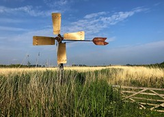 Out of use (rob kraay) Tags: reed fence robkraay sky smallwindmill clouds