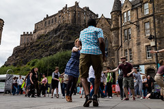 Edinburgh Swing Dance Society Grassmarket July 2019-140 (Philip Gillespie) Tags: edinburgh city urban swing dance society scotland grassmarket men women boys girls kids family friendly hands feet heads arms legs colour blue green red yellow castle outdoor outside canon 5dsr photography event workshops classes public lindy hop dresses hair faces shoes moving open spaces street pavement
