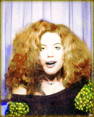 Stoned Photo Booth Girl 3 (kevin63) Tags: lightner photoshop portrait photos colorized teenager 20thcentury 1970s blackandwhite restored photobooth stoned buzzed wild redhead woman youngwoman