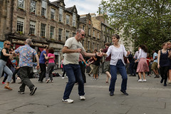 Edinburgh Swing Dance Society Grassmarket July 2019-184 (Philip Gillespie) Tags: edinburgh city urban swing dance society scotland grassmarket men women boys girls kids family friendly hands feet heads arms legs colour blue green red yellow castle outdoor outside canon 5dsr photography event workshops classes public lindy hop dresses hair faces shoes moving open spaces street pavement
