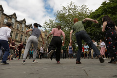 Edinburgh Swing Dance Society Grassmarket July 2019-235 (Philip Gillespie) Tags: edinburgh city urban swing dance society scotland grassmarket men women boys girls kids family friendly hands feet heads arms legs colour blue green red yellow castle outdoor outside canon 5dsr photography event workshops classes public lindy hop dresses hair faces shoes moving open spaces street pavement