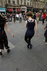 Edinburgh Swing Dance Society Grassmarket July 2019-229 (Philip Gillespie) Tags: edinburgh city urban swing dance society scotland grassmarket men women boys girls kids family friendly hands feet heads arms legs colour blue green red yellow castle outdoor outside canon 5dsr photography event workshops classes public lindy hop dresses hair faces shoes moving open spaces street pavement