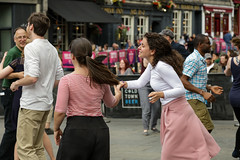 Edinburgh Swing Dance Society Grassmarket July 2019-225 (Philip Gillespie) Tags: edinburgh city urban swing dance society scotland grassmarket men women boys girls kids family friendly hands feet heads arms legs colour blue green red yellow castle outdoor outside canon 5dsr photography event workshops classes public lindy hop dresses hair faces shoes moving open spaces street pavement