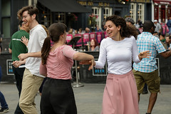 Edinburgh Swing Dance Society Grassmarket July 2019-224 (Philip Gillespie) Tags: edinburgh city urban swing dance society scotland grassmarket men women boys girls kids family friendly hands feet heads arms legs colour blue green red yellow castle outdoor outside canon 5dsr photography event workshops classes public lindy hop dresses hair faces shoes moving open spaces street pavement