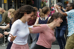 Edinburgh Swing Dance Society Grassmarket July 2019-223 (Philip Gillespie) Tags: edinburgh city urban swing dance society scotland grassmarket men women boys girls kids family friendly hands feet heads arms legs colour blue green red yellow castle outdoor outside canon 5dsr photography event workshops classes public lindy hop dresses hair faces shoes moving open spaces street pavement