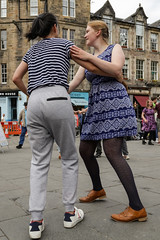 Edinburgh Swing Dance Society Grassmarket July 2019-216 (Philip Gillespie) Tags: edinburgh city urban swing dance society scotland grassmarket men women boys girls kids family friendly hands feet heads arms legs colour blue green red yellow castle outdoor outside canon 5dsr photography event workshops classes public lindy hop dresses hair faces shoes moving open spaces street pavement