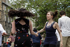 Edinburgh Swing Dance Society Grassmarket July 2019-213 (Philip Gillespie) Tags: edinburgh city urban swing dance society scotland grassmarket men women boys girls kids family friendly hands feet heads arms legs colour blue green red yellow castle outdoor outside canon 5dsr photography event workshops classes public lindy hop dresses hair faces shoes moving open spaces street pavement