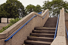 Blue (jkotrub) Tags: color colour coloring2019 stairs construction concrete architecture stone hard climb up summer trees sky blue green lines perspective park moss cracks decay worn journey adventure path
