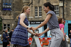 Edinburgh Swing Dance Society Grassmarket July 2019-208 (Philip Gillespie) Tags: edinburgh city urban swing dance society scotland grassmarket men women boys girls kids family friendly hands feet heads arms legs colour blue green red yellow castle outdoor outside canon 5dsr photography event workshops classes public lindy hop dresses hair faces shoes moving open spaces street pavement
