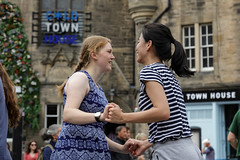 Edinburgh Swing Dance Society Grassmarket July 2019-207 (Philip Gillespie) Tags: edinburgh city urban swing dance society scotland grassmarket men women boys girls kids family friendly hands feet heads arms legs colour blue green red yellow castle outdoor outside canon 5dsr photography event workshops classes public lindy hop dresses hair faces shoes moving open spaces street pavement