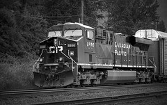 Canadian Pacific - 8896 (SNAPShots by Patrick J. Whitfield) Tags: blackandwhite blackwhite bw monochrome noiretblanc trains bnw noire lines patterns details locomotive cp texture metal outside commerce economy fuel light construction dof choochoo street mono countryside flickr shadows village adventure revelstoke west canadian manmade architecture britishcolumbia depthoffield canadianpacific