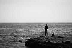 Contemplation (Abhay Parvate) Tags: solitude sea water coast beach bw blackandwhite enoshima japan sky