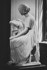 Good Use of Time (BenBuildsLego) Tags: black white girl reading book washington dc marble sculpture escultura statue skulptur sony art a6000 museum national gallery america usa window light beautiful figurative telephoto