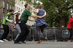 Edinburgh Swing Dance Society Grassmarket July 2019-241 (Philip Gillespie) Tags: edinburgh city urban swing dance society scotland grassmarket men women boys girls kids family friendly hands feet heads arms legs colour blue green red yellow castle outdoor outside canon 5dsr photography event workshops classes public lindy hop dresses hair faces shoes moving open spaces street pavement