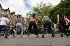 Edinburgh Swing Dance Society Grassmarket July 2019-232 (Philip Gillespie) Tags: edinburgh city urban swing dance society scotland grassmarket men women boys girls kids family friendly hands feet heads arms legs colour blue green red yellow castle outdoor outside canon 5dsr photography event workshops classes public lindy hop dresses hair faces shoes moving open spaces street pavement