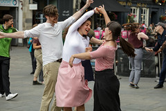 Edinburgh Swing Dance Society Grassmarket July 2019-228 (Philip Gillespie) Tags: edinburgh city urban swing dance society scotland grassmarket men women boys girls kids family friendly hands feet heads arms legs colour blue green red yellow castle outdoor outside canon 5dsr photography event workshops classes public lindy hop dresses hair faces shoes moving open spaces street pavement
