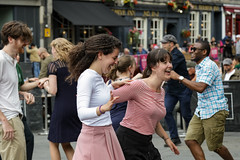 Edinburgh Swing Dance Society Grassmarket July 2019-222 (Philip Gillespie) Tags: edinburgh city urban swing dance society scotland grassmarket men women boys girls kids family friendly hands feet heads arms legs colour blue green red yellow castle outdoor outside canon 5dsr photography event workshops classes public lindy hop dresses hair faces shoes moving open spaces street pavement