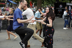 Edinburgh Swing Dance Society Grassmarket July 2019-221 (Philip Gillespie) Tags: edinburgh city urban swing dance society scotland grassmarket men women boys girls kids family friendly hands feet heads arms legs colour blue green red yellow castle outdoor outside canon 5dsr photography event workshops classes public lindy hop dresses hair faces shoes moving open spaces street pavement
