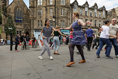 Edinburgh Swing Dance Society Grassmarket July 2019-215 (Philip Gillespie) Tags: edinburgh city urban swing dance society scotland grassmarket men women boys girls kids family friendly hands feet heads arms legs colour blue green red yellow castle outdoor outside canon 5dsr photography event workshops classes public lindy hop dresses hair faces shoes moving open spaces street pavement