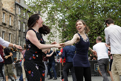 Edinburgh Swing Dance Society Grassmarket July 2019-214 (Philip Gillespie) Tags: edinburgh city urban swing dance society scotland grassmarket men women boys girls kids family friendly hands feet heads arms legs colour blue green red yellow castle outdoor outside canon 5dsr photography event workshops classes public lindy hop dresses hair faces shoes moving open spaces street pavement