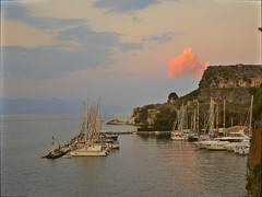 Happy little pink cloud over Corfu Town Harbour