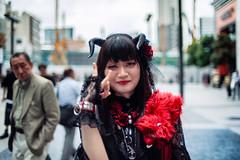 Shinjuku Cosplayer (Jon Siegel) Tags: nikon nikkor d810 35mm 14 nikon35mmf14 35mm14 woman fashion style wild horns demon shinjuku afternoon people places japan japanese tokyo cospay