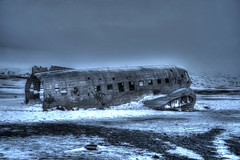 Emergency landing (urban requiem) Tags: urbex urban exploration plane wreck avion lost old decay hdr sony alpha7ii iceland island islande ice snow glace hiver winter c47