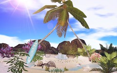 The Turtles Isle (Rose Sternberg) Tags: second life deco decor home garden interior landscape july 2019 tm creation the turtles isle for swank event beach scene with animations sand walkable palm trees tree rock rocks plants plant flowers seashells sea shells trunk land impact size copy modify water