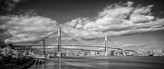 The Mighty Fraser River from New Westminster, BC- infrared/BW (gks18) Tags: longexposure infrared canon lightroom nik landscape beautifulbc fraserriver noiretblanc colourblind bw blackandwhite bridge river