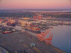 Maersk Shipping Dawn Departure (www.mikereidphotography.com) Tags: seattle sunrise gfx50s fuji mediumformat city urban 23mm otus 85mm maersk shipping port
