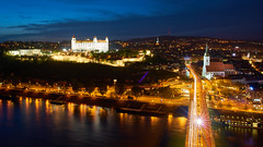 Bratislava Night (radkuch.13) Tags: europe slovakia bratislava ufo tower bridge river danube castle night city sony sonyalpha a7rii bluesky nightlights bluehour