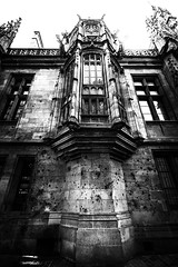 """sad reminder - bullet holes from executions during WW2 pockmark the walls of the Tribunal de Grande Instance, Rouen, Seine-Maritime, Normandie, France. Fine art black & white (grumpybaldprof) Tags: canon 80d """"canon80d"""" sigma 1020 1020mm f456 """"sigma1020mmf456dchsm"""" """"wideangle"""" ultrawide rouen seinemaritime normandie france seine """"seineriver"""" city veliocasses gauls rotomagus 912ad normandy """"joanofarc"""" neustria normans 1449ad french wwii worldwar2 bulletholes sad bw blackwhite """"blackwhite"""" """"blackandwhite"""" noireetblanc monochrome """"fineart"""" ethereal striking artistic interpretation impressionist stylistic style contrast shadow bright dark black white illuminated mood moody atmosphere atmospheric remembrance tribunaldegrandeinstance deuxièmegeurremondiale"""