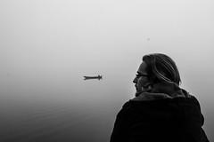 La barque (The_Forgotten_Legacy) Tags: slovenie slovenia slovenian matin morning barque small boat brume fog men man portrait human black white lac lake visage model modèle eau water regard look