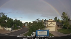 July 8, 2019 - Webcam image of the double rainbow east of Thornton. (ThorntonWeather.com)