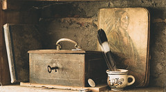 Old tales (Peter Szasz) Tags: colourful canon canon80d 80d 2470mm 2470 old antique still stilllife object clear creative art bright brown shadows indoors concrete wall shelf wood wooden metal iron rusted rust key box handle book books tale story texture tranquil telephoto native nativeamerican mohican cup man spiderweb cobweb money coin paint lock cent pen feather quill black white dreamy vintage