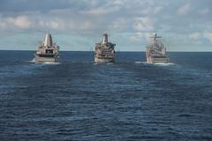 "USS Green Bay, USNS Rappahannock and USS Ashland conduct a replenishment-at-sea (#PACOM) Tags: wasp usswasplhd1 lhd1 talismansaber talismansabre ts19 amphibious australia ussgreenbaylpd20 greenbay lpd20 usnsrappahannocktao204 tao204 ussashlandlsd48 ashland lsd48 tasmansea usindopacificcommand ""usindopacom"