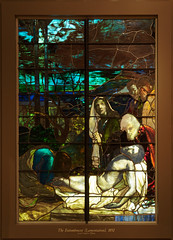 Chapel: The Entombment (Lamentation) (Whidbey LVR) Tags: lyle rains lylerains olympus em5ii museum morse orlando winter park florida tiffany glass louis comfort 1893 columbian exposition chicago stainedglass stained religious christian window leaded