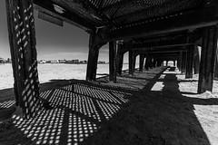 Grilled (subterraneancarsickblues) Tags: lancashire coast beach seaside pier stannespier landingjetty bw blackandwhite stannes fylde canon 6d eos6d 1635mm f4l lseries wide wideangle shadows