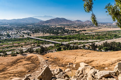 View of City of Riverside and Highway 60 from Mount Rubidoux (SCSQ4) Tags: california cityview favorite favoritepicture freeway hazy highway60 hike mountrubidoux mountainview mountains photohike riverside roads view willow willowtree