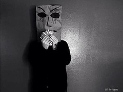 Baghead (2015) (horrorofgino) Tags: portrait bags paper masks ginovaglivielo photography white black gothic cash artistic pimp money