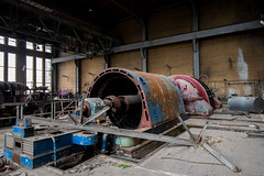 Turbine (Hooismans) Tags: abandoned abandon abandonné abandonnée abbandonato abbandonata ancien ancienne alone architecture explorationurbaine exploration explore exploring empty explo explored distillery trespassing rust rusty ruins rotten urbex urban urbain urbaine urbanexploration interdit interior inside inexplore old past photography decay decaying derelict dust decayed dusty forgotten forbidden lost light nobody neglected building verlassen creepy huge industrial factory ceiling people arch road sign tree sky powerplant im cooling tower charleroi