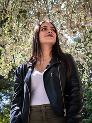 Mira (genchivictor) Tags: woods bosque model black jacket celds lines hair portrait