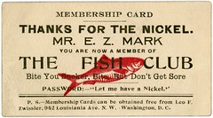 Fish Club Membership Card (Alan Mays) Tags: ephemera jokecards cards novelty fun membershipcards members membership fish fishclub clubs associations societies organizations groups ezmark easymark easymarks bites suckers gullible gullibility sore nickels passwords practicaljokes jokes parodies humor humorous funny red illustrations antique old vintage typefaces type typography fonts zwissler leofzwissler washington dc districtofcolumbia