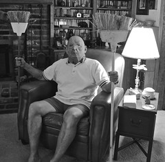 Portrait of an Old Man in His Easy Chair With Two Brooms (ricko) Tags: selfportrait mask brooms easychair bw werehere 190365 2019