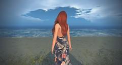 Longing for the Sea (Saga Mea) Tags: sl secondlife virtualworld 3dart 3dworld beach water redhair ginger girl summeredge sea shore