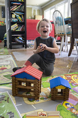 Ash Day 930 (evaxebra) Tags: ash lincoln logs toy toys blocks houses play