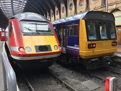 LNER HST (Powercar 43302) & Northern Class 142 (142022) - York (saulokanerailwayphotography) Tags: northern pacer 142022 class142 hst lner class43 43302