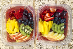 Rainbow Fruit (evaxebra) Tags: rainbow fruit morning kiwi apple mango strawberry plum blueberry containers breakfast